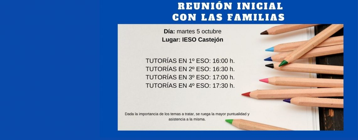 REUNIÓN FAMILIAS INICIO DE CURSO. IESO CASTEJÓN.